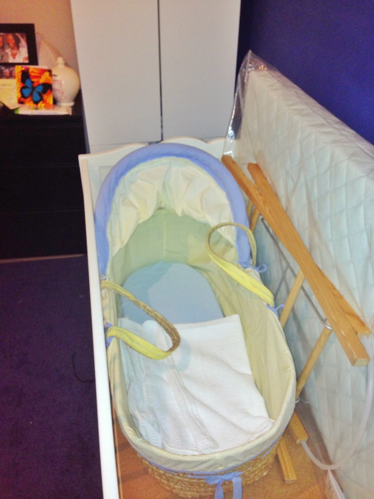 The bargain Moses basket and stand from eBay (with new fitted sheet and blanket from Mothercare)